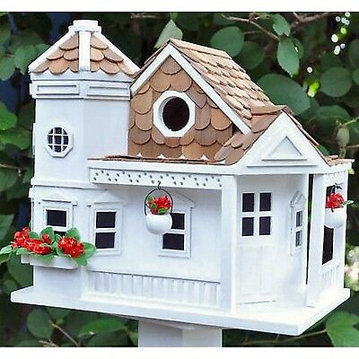 GARDEN BAZAAR HB-9092 Sea Cliff Cottage Bird House - White