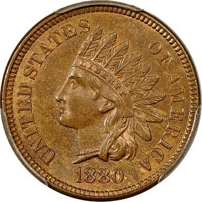 1880 1C Indian Cent PCGS MS64BN (PHOTO SEAL)