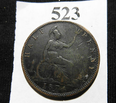 1874 H Great Britain 1/2 Penny