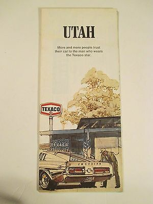 Vintage 1971 TEXACO UTAH Oil Gas Service Station Travel State Road Map