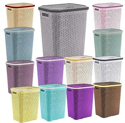 New Laundry Basket Washing Clothes Storage Hamper Rattan Style Plastic Bins Tidy