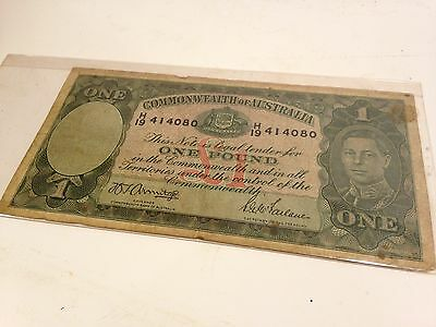 One Pound Bank Note Commonwealth Of Australia - 1942 Wwii Currency