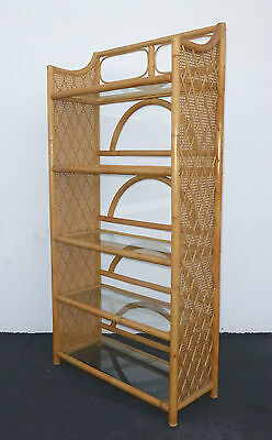 Vintage Bamboo Cane Palm BeachTiki Style BOOKCASE Bookshelves 5 Tiers