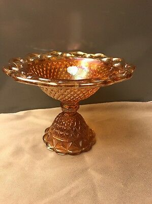 Imperial Glass Marigold Carnival Open Lace Diamond Point Compote Candy Dish