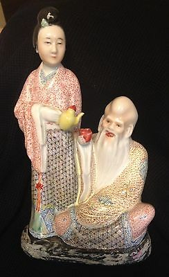 Finely Painted Antique Chinese Famille Rose Qing/Republic Porcelain Statue