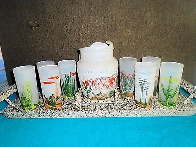 Blakely Oil Arizona Cactus Complete Frosted Tumbler Glass Set with Unique Tray