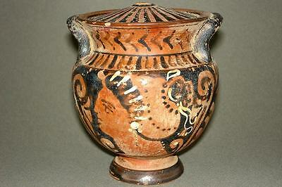 Ancient Red-Figure Apulian Stamnoid Pyxis from the TPS Group - Greek Antiquities