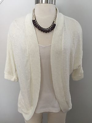 Motherhood Maternity Cardigan Sweater Shrug Size M Ivory Knit