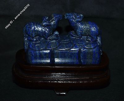 "5"" Chinese 100% Natural Lapis lazuli Jade Hand-carved wealth mouse Rat Sculpture"