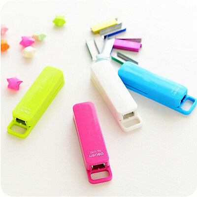 Mini Stapler Candy Color Staples Set Office Stationery Paper Binding Binder Book