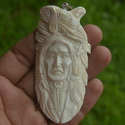 Whale Aztec Indian Carving 77x38mm Pendant P1892 w Silver in Buffalo Bone Carved