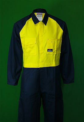 Hard Yakka Y00126 hi-vis yellow /navy heavy duty work overall small sizes only