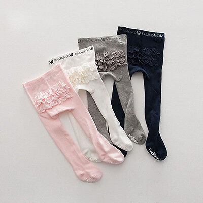 4 Colors Baby Girls Tights Princess Lace Anti Slip Tights Socks With Layers