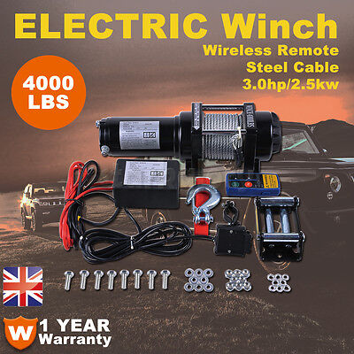 Electric Winch 4000LBs 12V Steel Cable Wireless Remote 4x4WD ATV Boat Car Truck