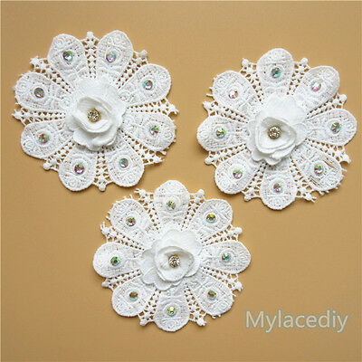 3D Vintage Flower Diamond Lace Edge Trim Wedding Ribbon Applique Crochet Patches