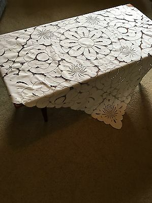 Vintage Madeira Cutwork 125cm Square White Cotton Grey Embroidery Tablecloth