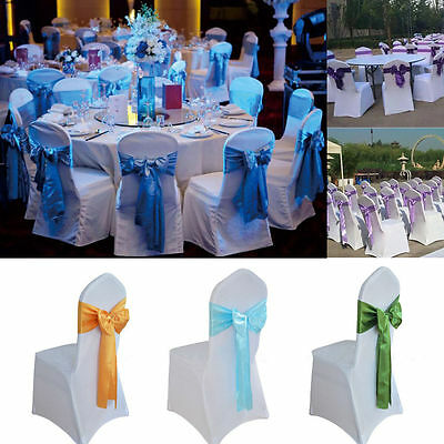 10 Pcs Wedding Organza Satin Chair Cover Sash Bow Ribbon Wedding  Decorations