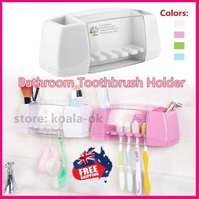 Bathroom Suction Toothbrush Wall Mount Toothpaste Dispenser Stand Holder StoraIR