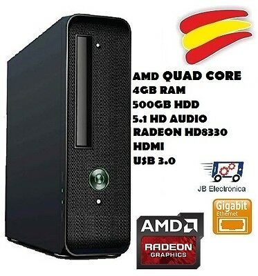 Ordenador Pc Sobremesa, Quad Core, 4Gb Ram, 500Gb Hdd, Usb 3.0, Hdmi, Vga, Glan