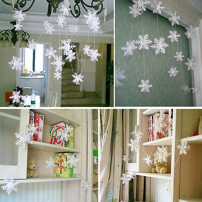 White Paper Material 3D Snowflake Pendant Garland Christmas Decoration liau
