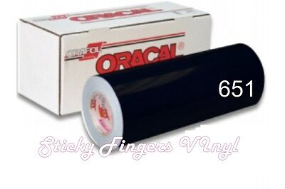 "GLOSSY BLACK ORACAL 651 Permanent Adhesive Vinyl 12"" x 5 FT-SIGN CRAFT"