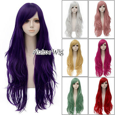 Fashion Style Heat Resistant Wig Colors Wavy Anime Cosplay Hair + Wig Cap