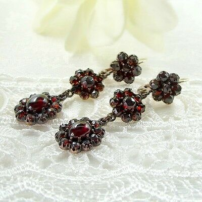 Small Vintage garnet cascade earrings w/14ct gold wires || ГРАНАТ