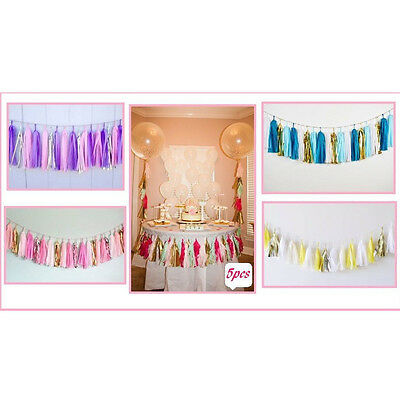 5pcs Tissue Paper Garlands Bunting Tassels Party Wedding Shower Decorations  AC