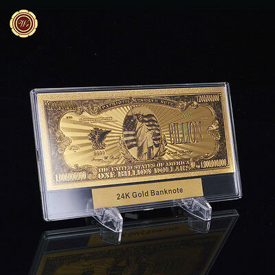 WR Note Billion Money US Gold Dollar Banknotes Value /w Display Slab Photo Frame