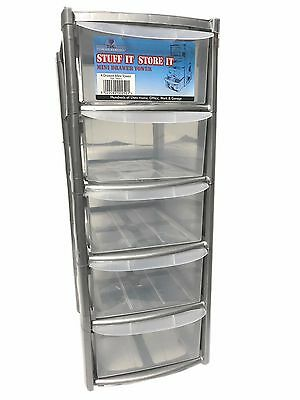 5 Drawer Silver Tower Unit !! Plastic Drawers !! Storage Organizer !! Mini/Small