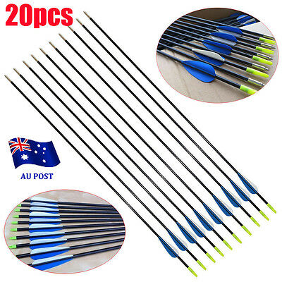 "20x 32"" Fiberglass Arrows 15-80LB Archery Hunting Target Recurve Compound Bow BO"