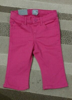 NWT Baby Gap Girls Pink Fruit Punch Denim Cropped Pants Size 18-24 Months