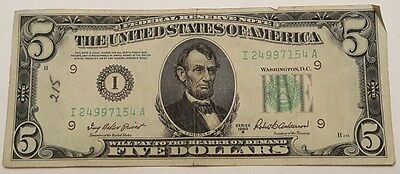 1950-B I/A $5 Five Dollar Federal Reserve Note Bill US Currency