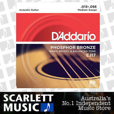 D'Addario EJ17 Phosphor Bronze Medium Acoustic Strings 13-56 Daddario EJ-17