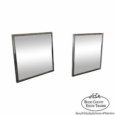 Mid Century Modern Pair of Square Chrome Frame Wall Mirrors by Vanguard Studios