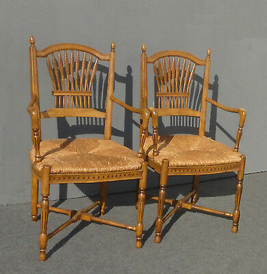 Pair Designer FRENCH COUNTRY COTTAGE Carved Rush ARM CHAIRS Made in SPAIN