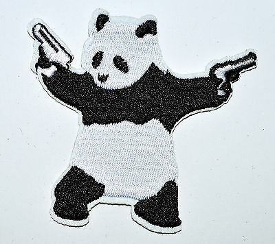 PANDA BEAR wielding pistols guns EMBROIDERED Iron On patch patches Applique