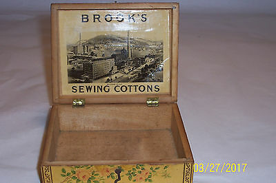 """Antique Wood Sewing Box, Advertising """"Brooks"""" Sewing Cottons"""