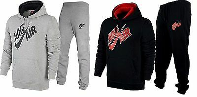 Mens Nike Air Pivot Hooded & Joggers Sports Tracksuit Grey  Black Various Sizes