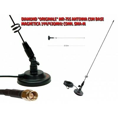 "DIAMOND ""ORIGINALE"" MR-75S ANTENNA CON BASE MAGNETICA 144/430MHz CONN. SMA-M"