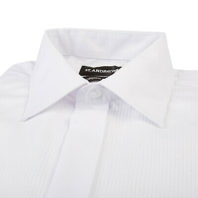 Mens White Wing Collar Cotton Blend Tuxedo Tux Black Tie Wedding Dress Shirt
