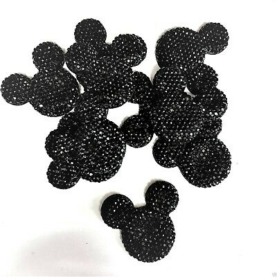 x10 Black Glitter Mouse Ears Charms Dummy Clips
