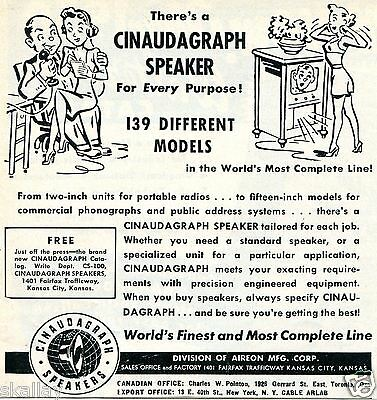 1949 Print Ad of Aireon Cinaudagraph Speaker 139 Different Models