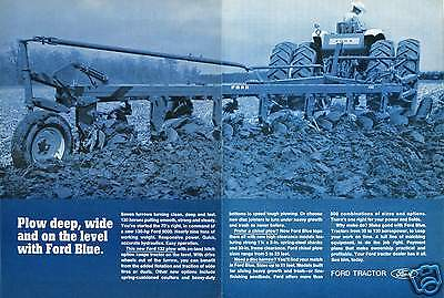 1970 2 Page Print Ad of Ford 9000 Tractor & 132 Plow