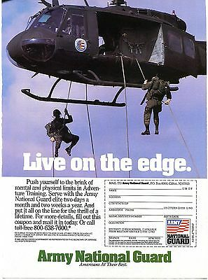 1988 U.S. Army National Guard Live On The Edge Recruiting Print Ad