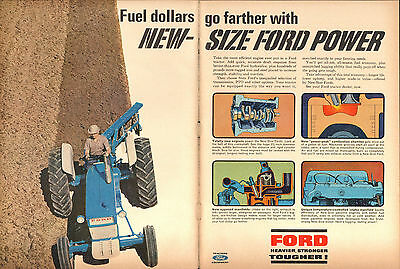 1965 2 Page Vintage Print Ad of Ford 4000 Farm Tractor New Size Ford Power