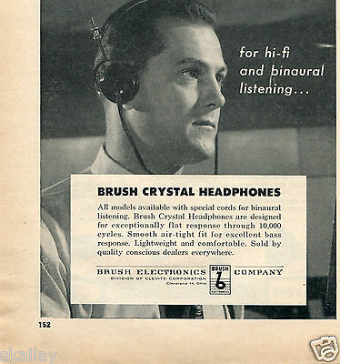 1956 Print Ad of Brush Electronics Co Crystal Headphones Cleveland OH