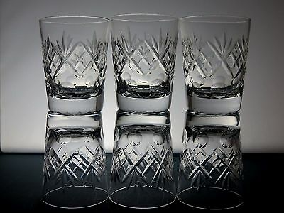 6 Royal Doulton Crystal Whiskey Georgian Cut Whisky Flat Tumblers -10.3 Tall