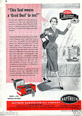 1951 Print Ad of Raytheon Manufacturing Co Radio & Television Tubes