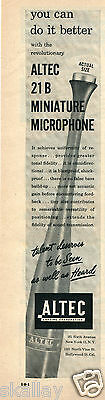 1949 Print Ad of Altec Lansing Corp 21B Miniature Microphone